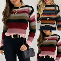 Women's Striped Long Sleeve Sweater Tops Ladies Knitted Slim Fit Pullover Blouse