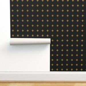 Wallpaper Roll Swiss Cross Gold Cross Plus Sign Black And Gold Grid 24in x 27ft