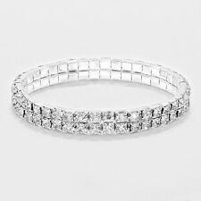 Rhinestone Bracelet 2 Row Wide Stretch Bangle Crystal Pave Wedding Bride SILVER