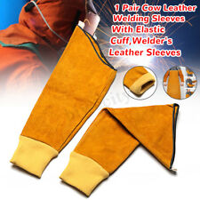 """22.6"""" Cowhide Cow Leather Welding Sleeves With Elastic Cuff Stitched Yellow"""