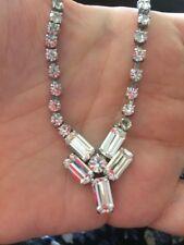 Diamante Glass Crystal Bridal Wedding Formal Necklace Sparkly Deco Design
