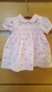 Baby girl 12 18 24 months traditional smocked pink dress with smocking bnwt new