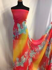 "NEW Designer Multicolour Large Floral Chiffon Print Fabric 60"" 154cm Dress Craft"