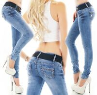 Damen Jeans Hose Röhrenjeans Skinny Denim Stretch Zip Gürtel XS S M L XL
