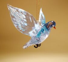 Blown Glass  Figurine Art White and Clear Blue Hanging Bird Dove Pigeon Ornament