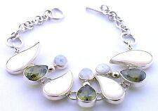"Handmade Peridot Mother Of Pearl Rainbow Moonstone Sterling Silver 8"" Bracelet"