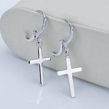 Women's Cross Dangle Earrings 18k White Gold Filled Fashion Charms Jewelry Gift