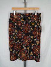 Lularoe Cassie Skirt Size XL Tribal Polka Dot Black Multi Color Stretch New
