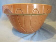 Vintage Oven Ware Yellow Ware 9 inch Bowl with embossed design, Peach