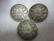 """3 x MÜNZE - Deutsches Reich - 1 MARK - 1873 """"A"""" - 1874 """"E"""" - 1874 """"F"""" - SILBER"""