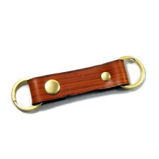 Modern Wood Grain Saddle Tan Valet Double Ring Leather Key Chain Free Gift Wrap