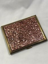 1950s PINK GLITTER LUCITE AND BRASS CIGARETTE CASE   EXCELLENT CONDITION