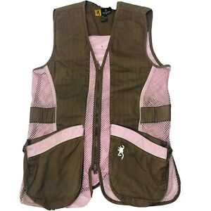 Browning for Her Hunting Shooting Vest Adjustable Waist Pink Brown Womens Size M