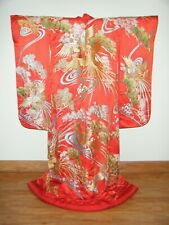 Vibrant Red Japanese Uchikake Wedding Kimono w/ Gold Embroidered Phoenix - R400