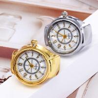 Fashion Dial Quartz Analog Ring Watch Steel Cool Elastic Quartz FingerRing Watch