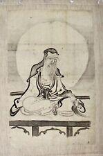 Japanese Indian Ink Scroll Painting Kakemono Daruma Bodhidharma, Zen, Edo Period