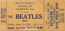 1  BEATLES VINTAGE UNUSED FULL CONCERT TICKET 1964 Atlantic City, NJ laminated