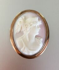 GORGEOUS! Vintage Victorian Hand Carved Pink Shell Cameo 10k Solid Gold Brooch