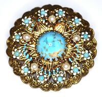 VTG AUSTRIA Signed Gold Tone Faux Turquoise Pearl Glass Filigree Pin Brooch
