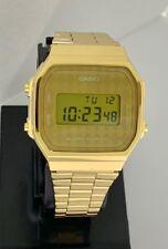 CASIO Digital Classic A168WG-9B Gold tone bracelet & dial A168 Illuminator New