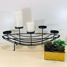 Pillar Candelabra 5 Candle Holder Basket Fireplace Boat Shape Black Metal Modern