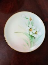 Antique Pickard China Hand Painted Plate Signed Marker Pheasants Eye Daffodils