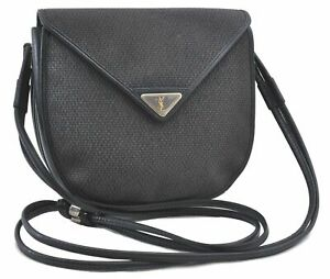 Authentic YVES SAINT LAURENT Shoulder Cross Body Bag PVC Black D0793
