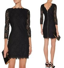 NWT $348 DVF Diane von Furstenberg Colleen Lace Sheath Dress in Black; 12
