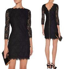 NWT $348 DVF Diane von Furstenberg Colleen Lace Sheath Dress in Black; 12