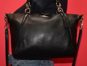 COACH KELSEY Black Pebbled Leather Crossbody Shoulder Zip Carryall Purse 36675