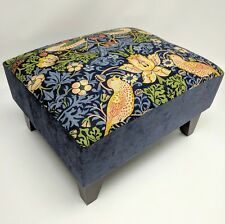Footstool pouffe William Morris Blue Strawberry thief dark wood British made
