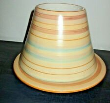 2007 Yankee Candle SAHARA STRIPE Large SHADE + PLATE Blues, Tans, Browns Retired