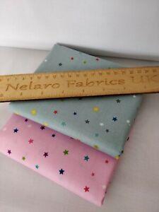 Multi star grey pink fabrics by Makower