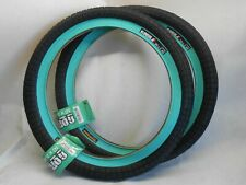 "BMX BICYCLE TIRE 20 X 2.40"" Renegade 110 PSI Black/Teal PRIMO ODYSSEY SHADOW"