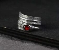 925 Sterling Silver Adjustable Feather Ring Leaf Red Agate Stone Statement Ring