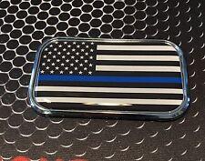 "THIN BLUE LINE Domed CHROME Emblem Proud USA police Flag Car sticker 3D 3""x 1.8"""
