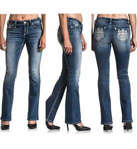 AFFLICTION Women's Denim Jeans JADE STANDARD CALI Embroidered