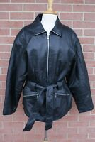 New York by Winlit Jacket Womens Leather Belted Lined Black Zip Up Coat Size L