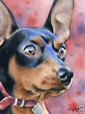 Miniature Pinscher Dog Watercolor 8 x 10 Art Print Signed by Artist Djr
