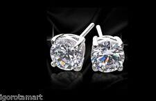 Pair Girl Men Round Princess Cut CZ Earrings White Gold Filled Ear Stud 6-12mm