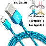 New Braided Lightning USB Charger Cable 1M 2M 3M For Type-C For iPhone X 8 7 6 5