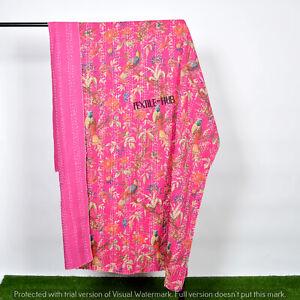 Indian Floral Hand block Print Kantha Quilt,Blanket Cotton Queen Twin Bedspread