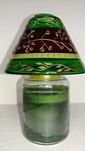Glass Candle Topper Shade for Large Jar Candle - Red & Green w/Gold Trim