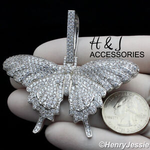MEN 14K WHITE GOLD FINISH ICY BLING 3D SILVER BUTTERFLY CHARM PENDANT*ABP10