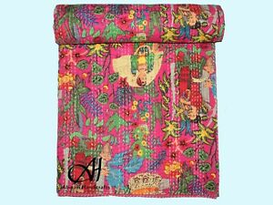 Indian Cotton Bedspread Pink Kantha Quilt King Size Coverlet Traditional Throw
