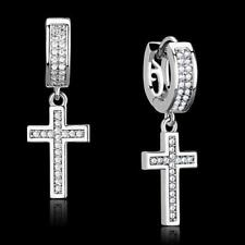 S295 DANGLE DROP STERLING SILVER  CHARM EARRINGS SIMULATED DIAMONDS CROSS HUGGY