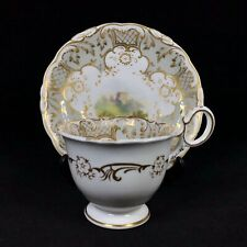 More details for coalport adelaide coffee cup & saucer — heavy gilt landscape scene 2/688 c. 1831