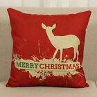 Christmas Cotton Linen Deer Pillow Case Cushion Cover Sofa Home Bed Car Decor