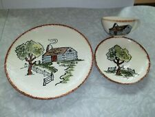Blue Ridge Pottery Cabin plate, cup & saucer hand painted