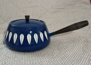Vintage enamel ware Cathrineholm blue fondue saucepan pan pot Retro